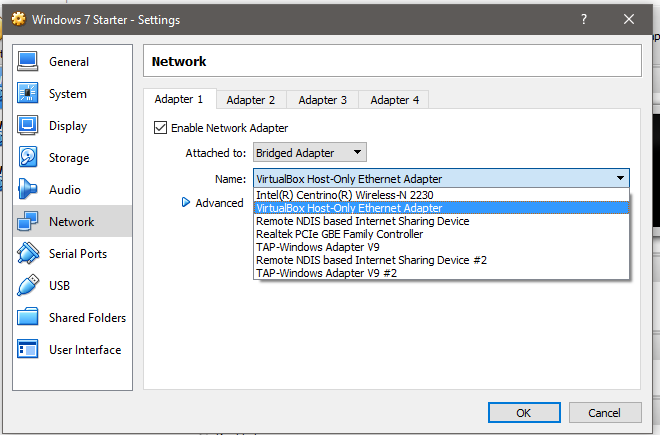 networking - VirtualBox Host-Only adapters and bridged